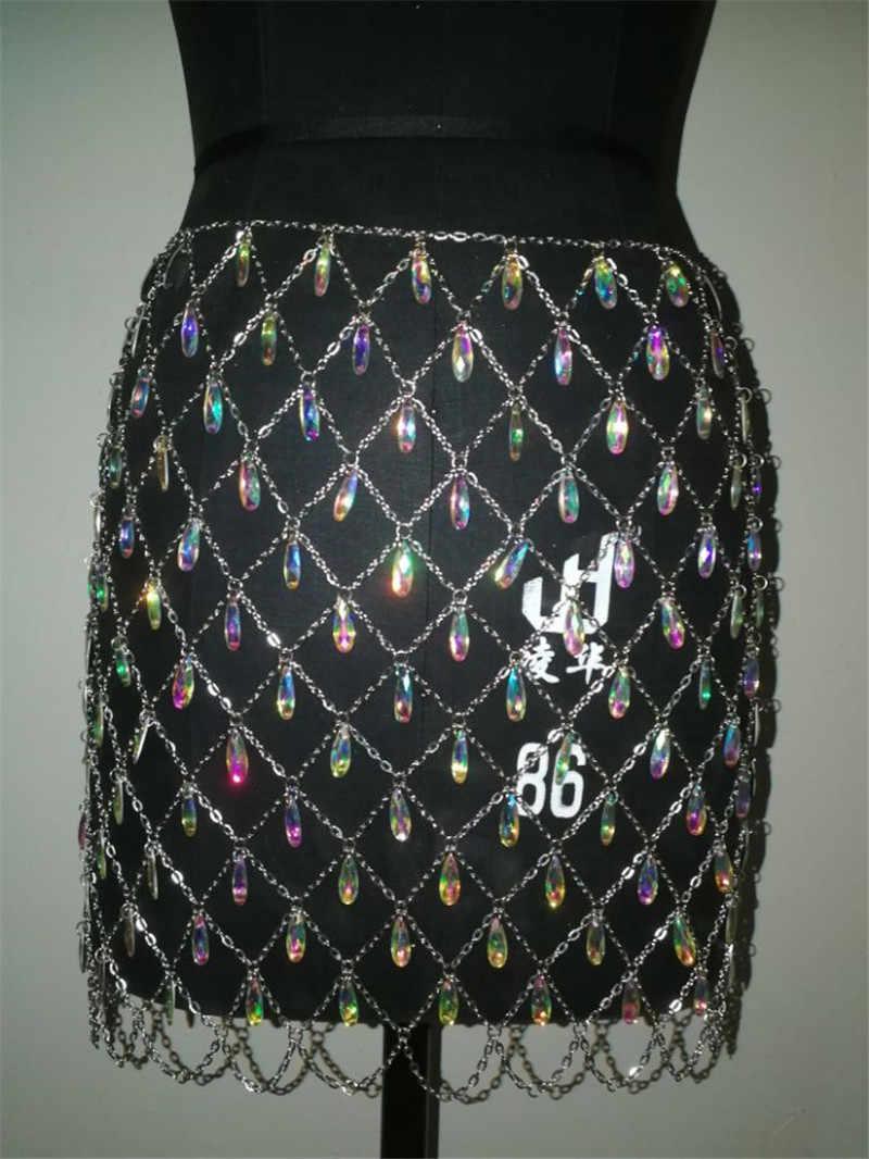 ... Beyprern Wholesale Womens Shiny Crystal Diamonds Skirt High Waist Hollow  Out Festival Metal Chain Beach Skirt ... b81151c2fae2