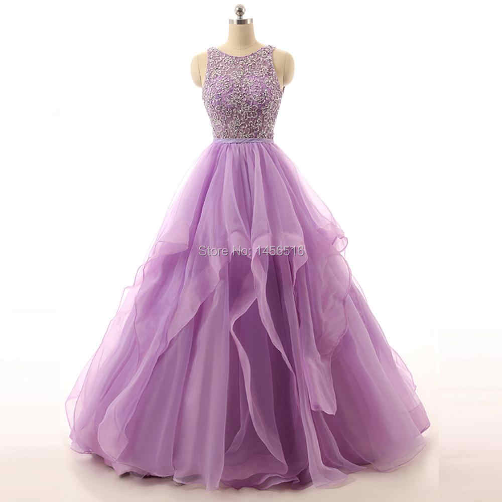 browse latest collections top-rated quality world-wide free shipping 71111W Real Sample Lilac Ball gown Beaded Puffy Organza Special occasion  long sexy prom dresses 2019 new arrival