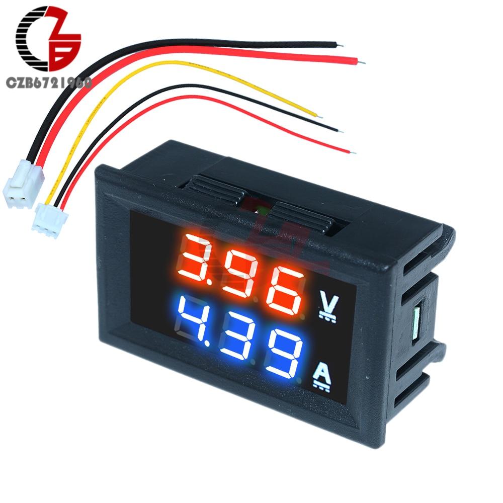 Высокоточный цифровой вольтметр, амперметр постоянного тока 100 в 10 А, для автомобиля, мотоцикла, индикатор напряжения, тестер, измеритель то...