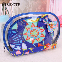 3pcs Set Anchor Printed Makeup Bags Female Waterproof Portable Cosmetic Bags Floral PVC Travel Ladies Pouch