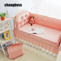 Pink Sweet Baby Crib Bedding Set Baby Girl Crib Bedding Sets Lace Quilt Infant Cot Nursery