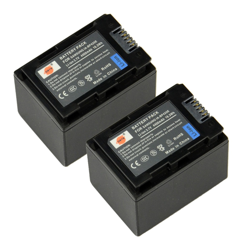 DSTE 2PCS IA-BP420E Rechargeable Battery for SAMSUNG SMX-F40 F44 F50 F70 F54 HMX-H200 H204 H205 H300 H304 F708BP Camera original bp 809 7 4v 890mah camera battery rechargeable battery