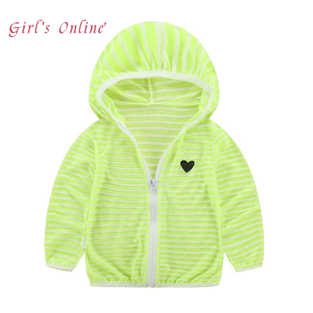 Summer Sunscreen Kids Outerwear 2018 New Hooded Solid Boys Girls Sweatshirts Super Thin Striped Zipper Children Tops