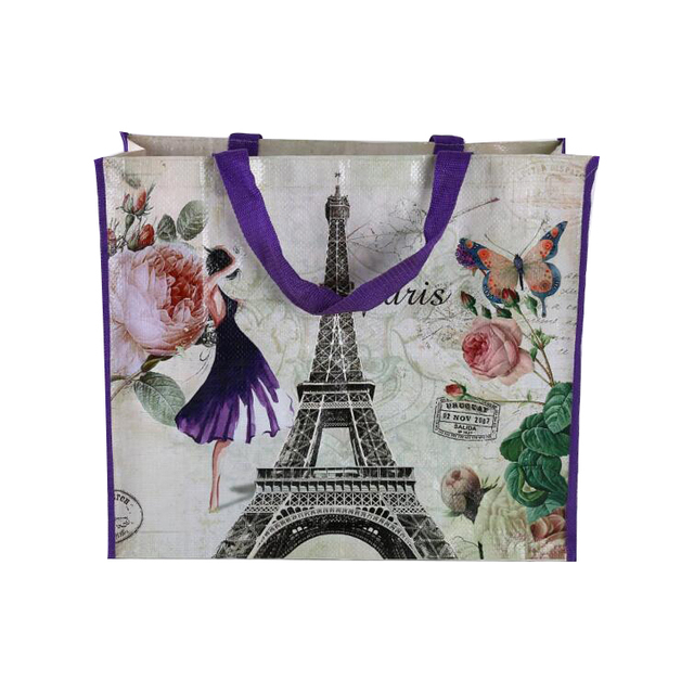 Custom bag Promotional PP woven bag with Paris Eiffel Tower Lamination printing