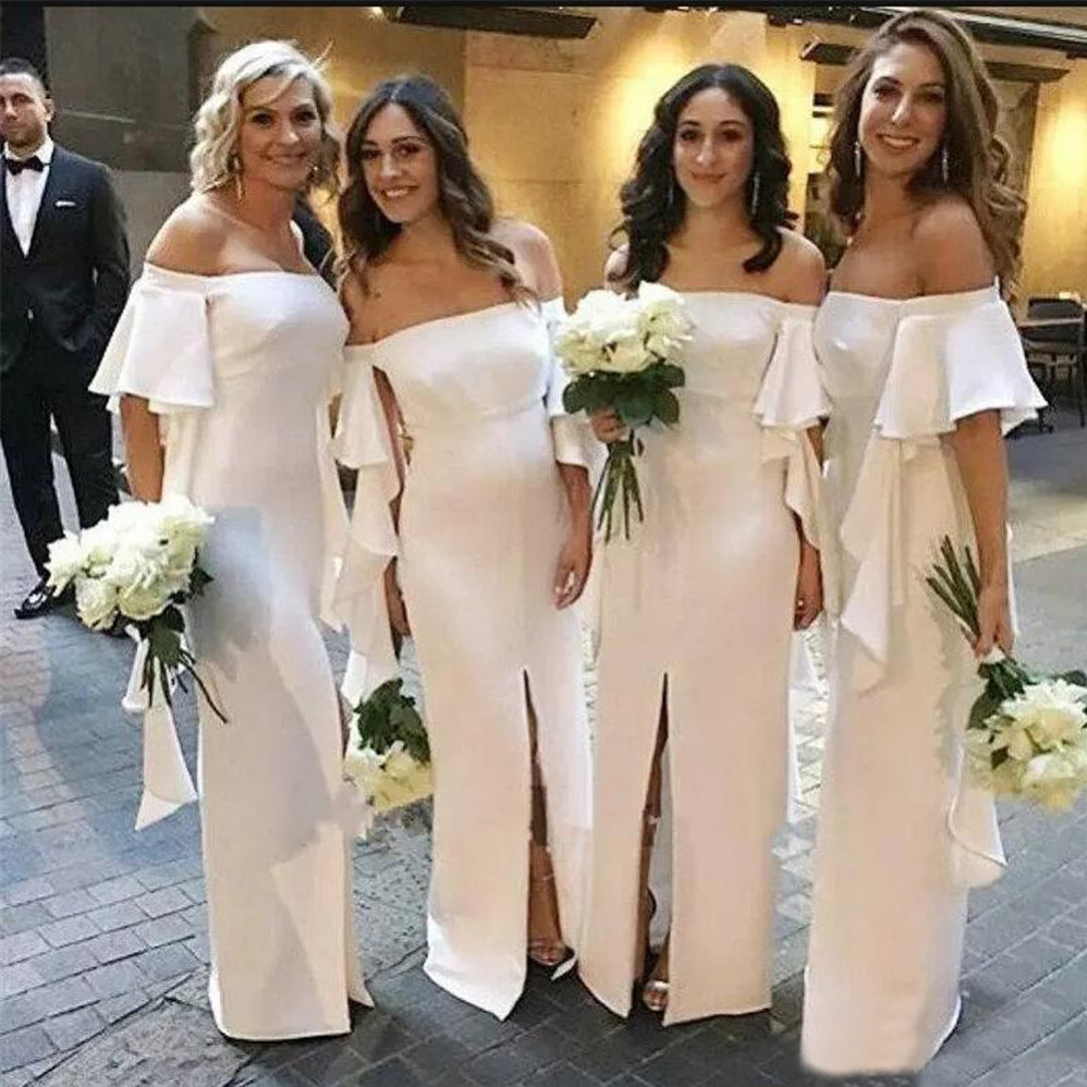 Long White   Bridesmaid     Dresses   Boat Neck Off The Shoulder Straight Front Split Simple Wedding Party Gowns 2019 New Women Gowns
