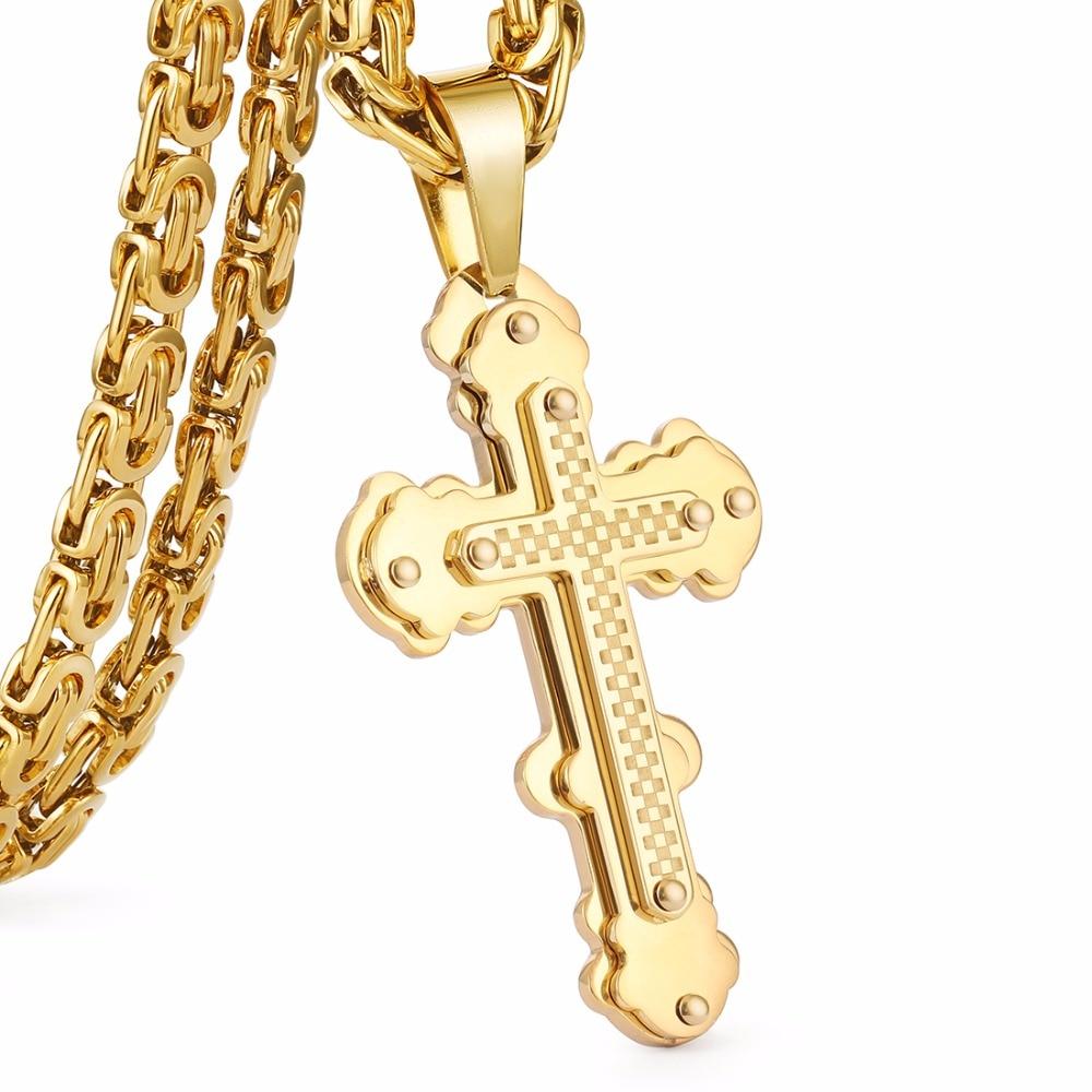 Prix pour Jésus Croix Pendentif Collier En Acier Inoxydable Hommes Bijoux Byzantin Lien Chaîne Poplular Christian Colar Ruban Or Couleur MN0056
