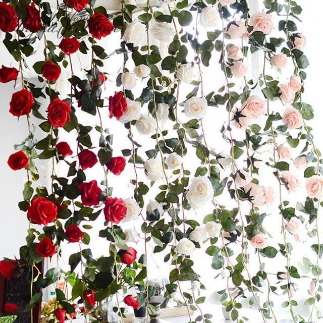 Australia 1.8m silk rose artificial flower vine rose Rattan DIY wedding background decor home party Christmas  flower wisteria