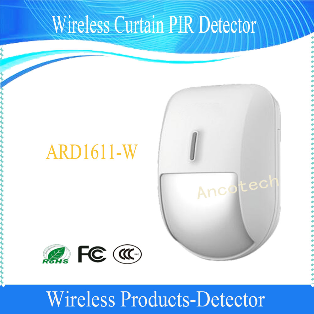 Dahua Free Shipping  433MHz Wireless Curtain PIR Detector For Home Security Alarm System Without Logo ARD1611-W golden security lpg detector wireless digital led display combustible gas detector for home alarm system