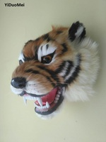 Large 24x20cm Artificial Tiger Head Model Plastic Furs Wall Pandent Handicraft Bar Ornament Home Decoration Gift