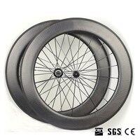 700C * 25 mét Sâu 80 mét Carbon Võng Xuống Bánh Xe Full Carbon Road Bike Wheels UD Matte Wheelset Đen 20/24 H shiman0 8/9/10/11 tốc đ