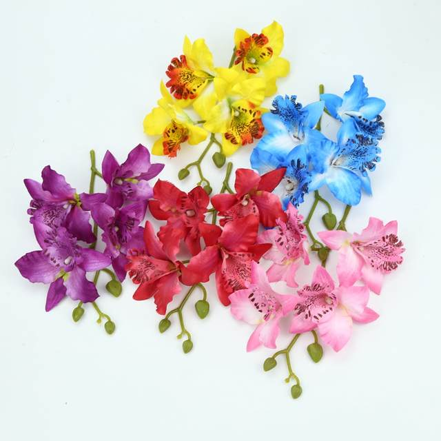 225 & Silk Butterfly orchid Vase display artificial flowers new Year christmas decor for home wedding bridal accessories clearance