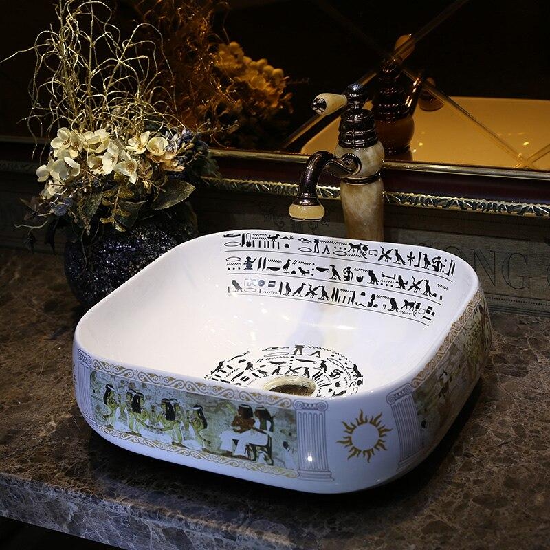 Square Bathroom Ceramic Counter Top Wash Basin Cloakroom Hand Painted Vessel Sink Bathroom Sinks Bathroom Vessel