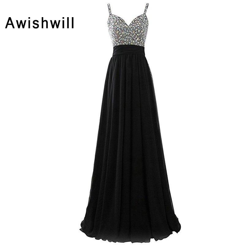 Vestidos de Graduacion Fashion Spaghetti Strap Beadings Chiffon Open Back  Long Dress Party Black Prom Dress 86ba6d12fa30