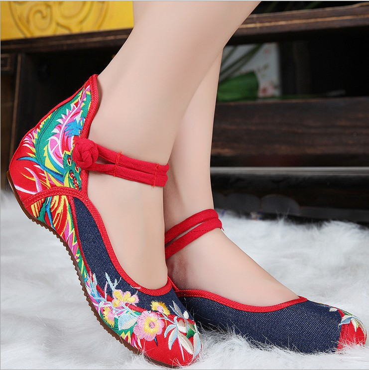 Plus Size 41 Fashion Women Shoes, Old Elegant Art Party Beijing Mary Jane Flats with Casual Shoes, Chinese Style Embroidered Clo цены онлайн