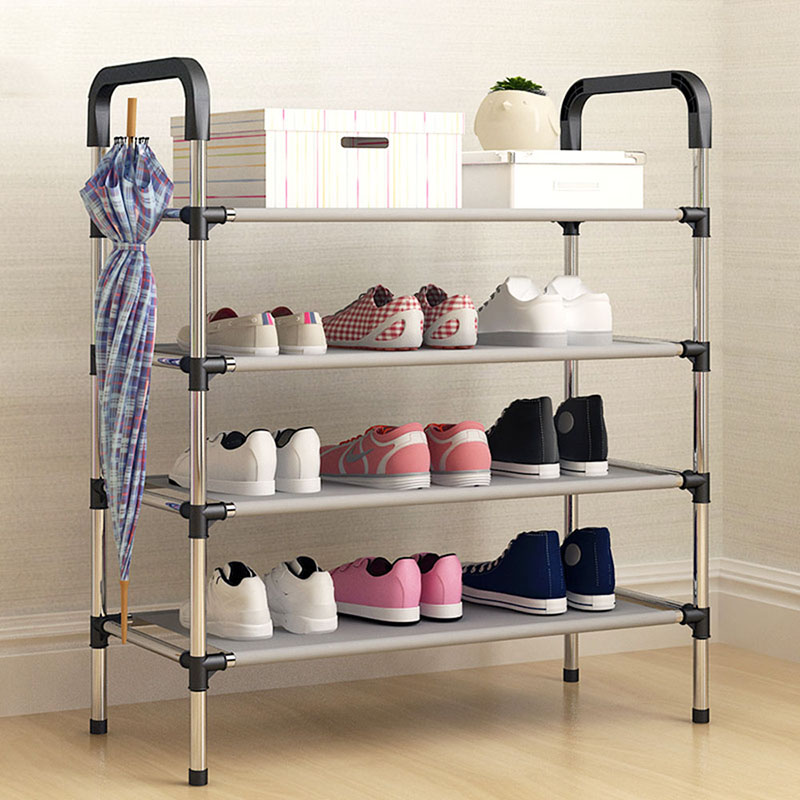 Dormitory room use Multiple layers Shoe Rack with handrail Easy Assembled Shelf Storage Organizer Stand Holder Storage shelves shoe rack nonwovens steel pipe 4 layers shoe cabinet easy assembled shelf storage organizer stand holder living room furniture