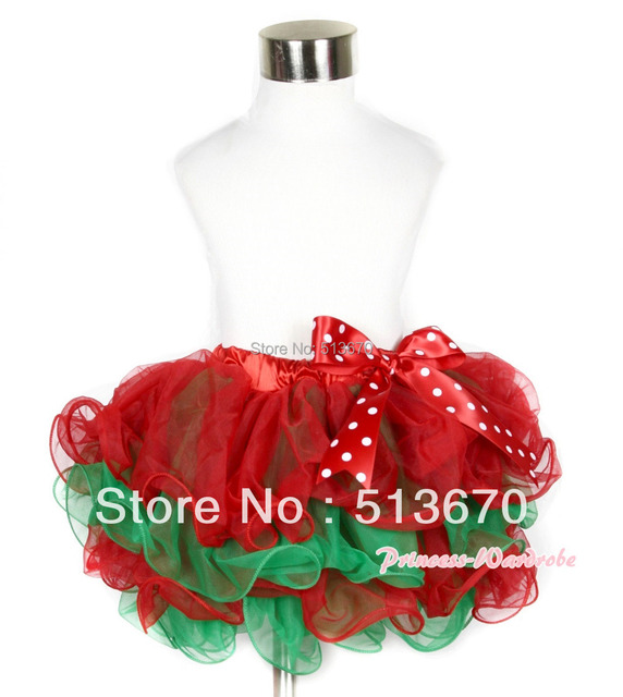 Xmas Hot Red Green Flower Petal Newborn Baby Pettiskirt With Minnie Polka Dots Bow MAN166