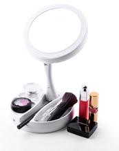 Лучший!  LED-зеркало для макияжа Складная двухсторонняя вращающаяся 10-кратная увеличительная косметика для
