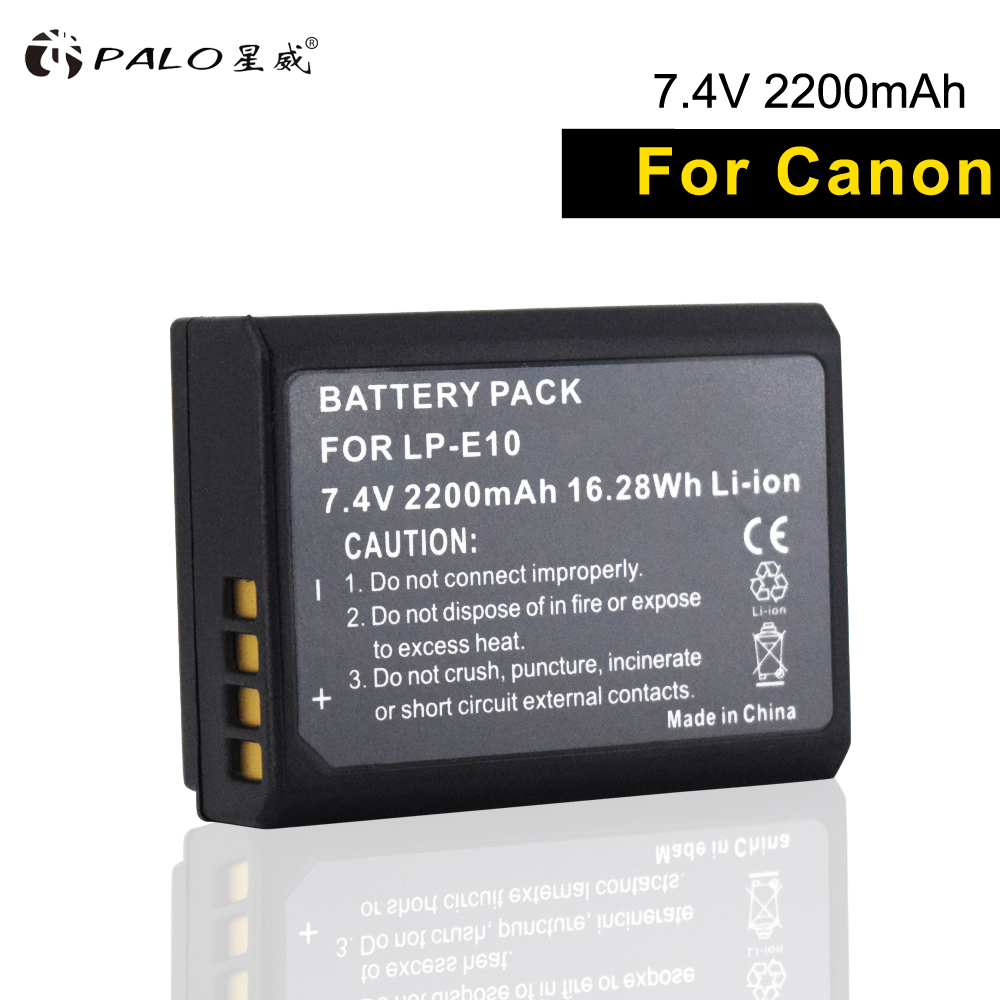 PALO 1pc 2200mAh LP-E10 LP E10 LPE10 Digital Camera Battery For Canon 1100D 1200D 1300D Rebel T3 T5 T6 KISS X50 X70 X80 Battery