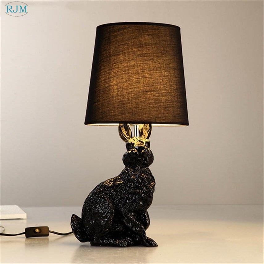 Resin Rabbit Shape Modern Creative Led Table Lights Black White Cloth Lampshade Table Lamps Living Room Bedside Desk Lamp Decor