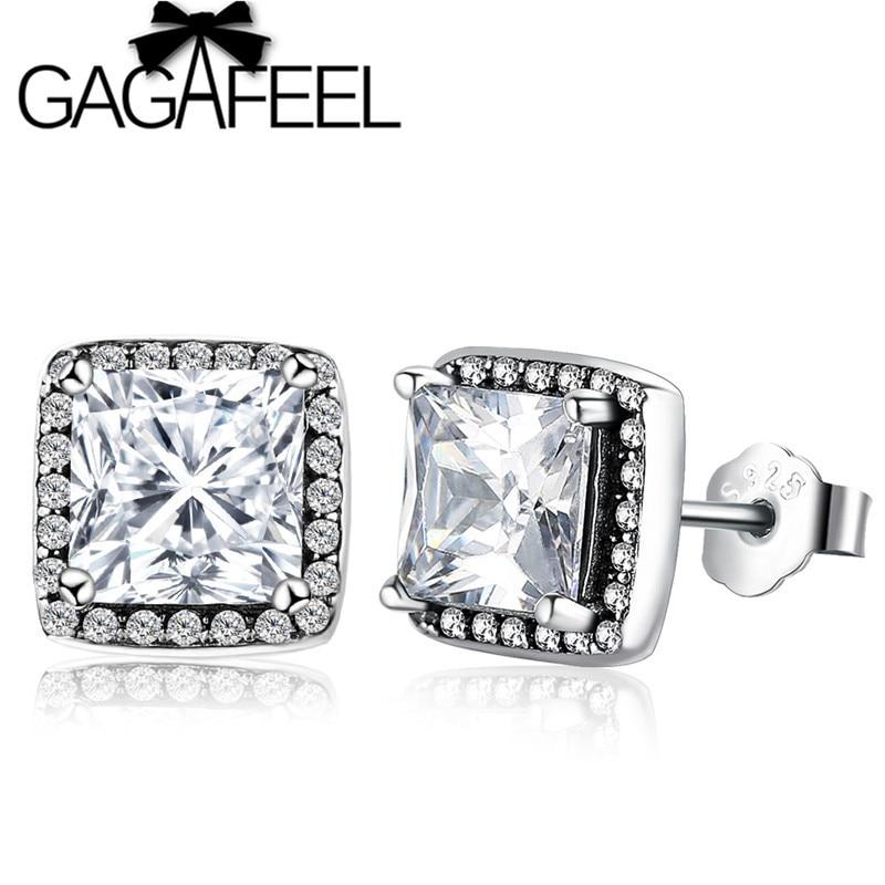 GAGAFEEL Fashion Timeless Elegance Stud earrings For Women 925 Sterling Silver Geometry Square earrings For Women Jewelry