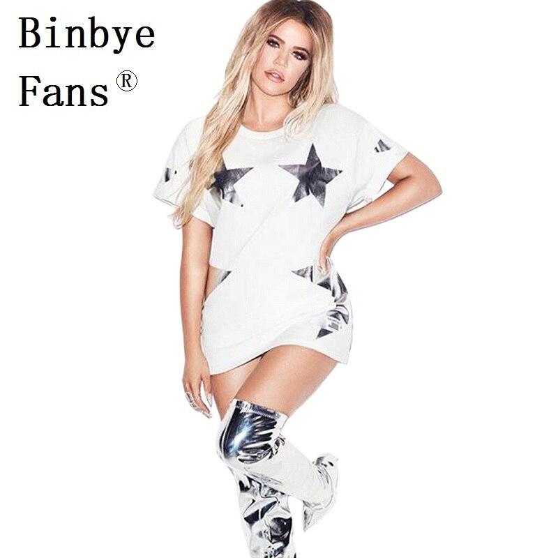Binbye Hayranları Yeni robe seksi güzel elbiseler Altın Gümüş yıldız beyaz casual yaz elbise kısa kollu mini t gömlek elbise CH345