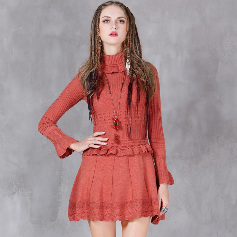 Women Winter Dress 2017 New Cotton Wool Vestidos A-line Turtleneck Ruffles  Hem Combo Knitting Ladies Dresses