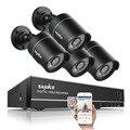 Salida de $ number canales dvr impermeable 720 p 1.0mp onvif compatibles sannce cámara de visión nocturna cctv sistema de vigilancia kits con 4 cámaras