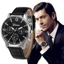 Женева Для Мужчин's Бизнес часы Для женщин 2018 Лидирующий бренд кожаный ремешок аналоговые кварцевые наручные часы женские часы Relogio Relojes # N