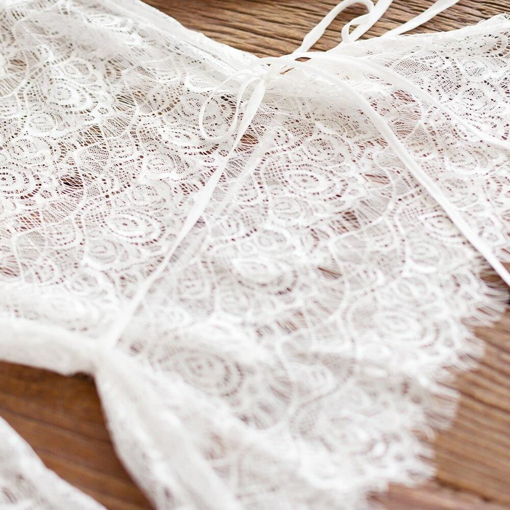 IRINAW619 nieuwe collectie zomer 2018 driekwart mouw vintage witte wimper kant top vrouwen shirt - 3