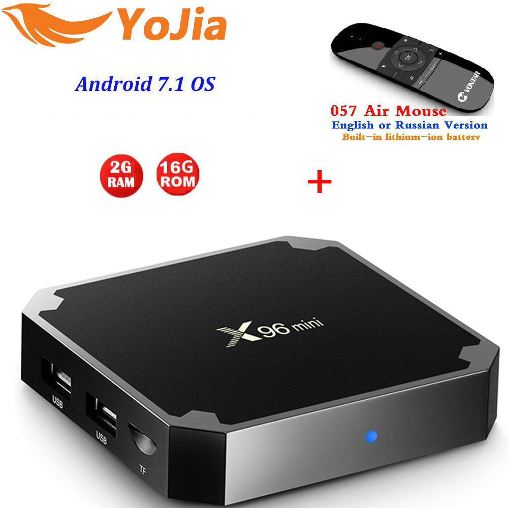 Yojia 2GB16GB X96 mini Android 7,1 TV BOX Amlogic S905W 1G 8g Quad Core 4 K 2,4 GHz wiFi X96mini Smart set caja superior Media Player