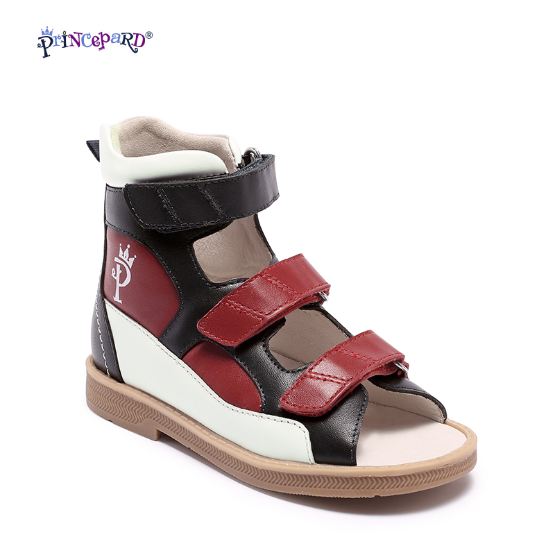 Original Princepard 2018 nuevo zapatos ortopédicos para niños rojo y negro ortopédico calzado para niños chicas sandalias