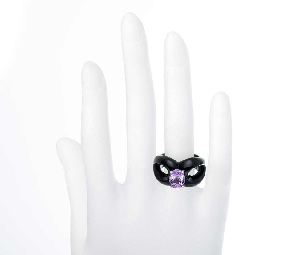 Hutang ธรรมชาติอเมทิสต์สีดำ Chalcedony แหวนที่ไม่ซ้ำกันออกแบบเครื่องประดับ Fine 925-sterling-silver HuTang