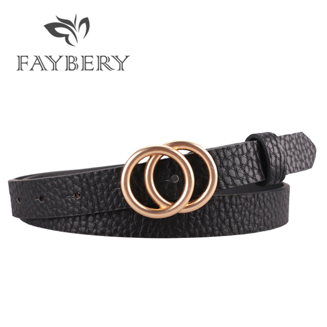 3b80bda2fc06c 2019 Fashion Golden Double Circles Belts for Women Round Buckle Belt for  Wedding Dresses Brand Designer