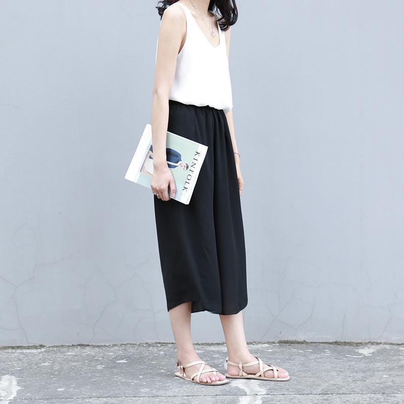 2019 Summer New Arrival Vintage Plus Size Elastic Waist Chiffon Loose   Pants     Wide     Leg     Pants   Black   Wide     Leg     Pants   Free Shipping