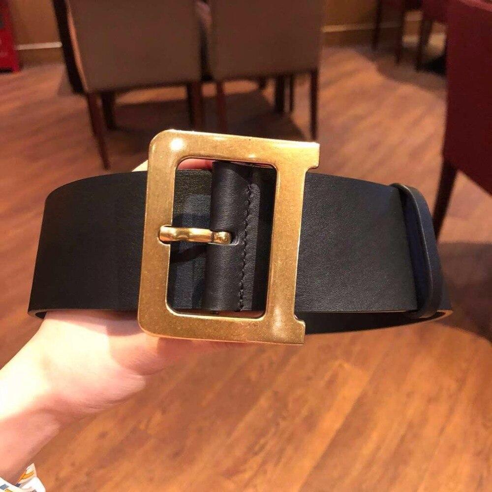Femmes mode lettre métal cuivre boucle ceinture large noir ceintures en cuir véritable nouveau 2018 automne printemps 90 cm, 95 cm 100 cm 110 cm