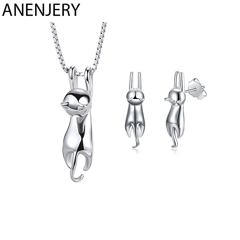 ANENJERY S925 Stamp Silver Color Jewelry Sets Lovely Animal Cat Necklace+Earrings For Women Girl Gift