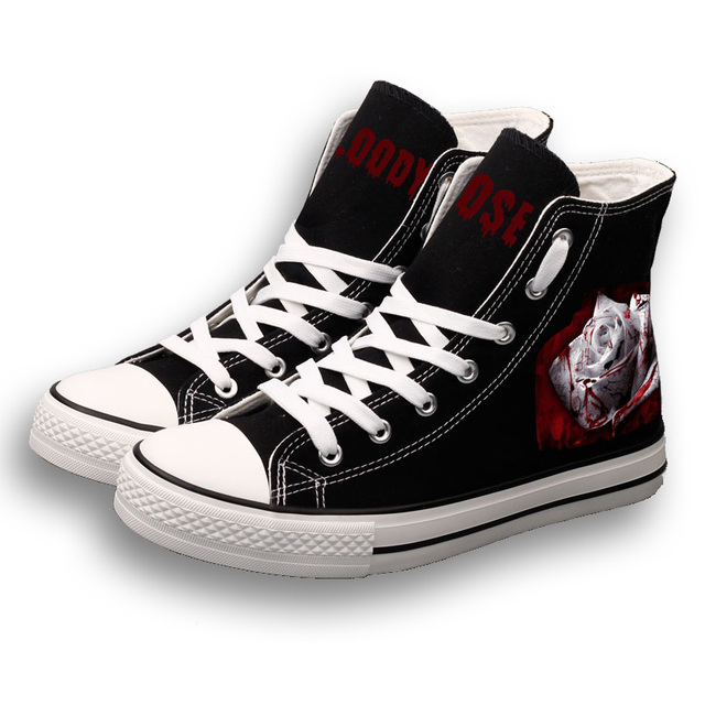 0ba6b3c647af E-LOV Halloween Women Canvas Shoes Blood Bleeding Rose Pattern DIY Custom  Painted Canvas Shoes High Top Lace-Up Casual Shoes