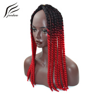 Jeedou Curly Synthetic Crochet Braids 12Pcs 22 120g Lot Black Omber Color DIY Braiding Hair Extensions
