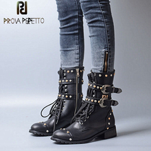 Prova Perfetto Punk Black Leather Ankle Boots Woman Round Toe Rivet Belt Buckle Square Med Heel Shoes Women Fashion Martin Boots