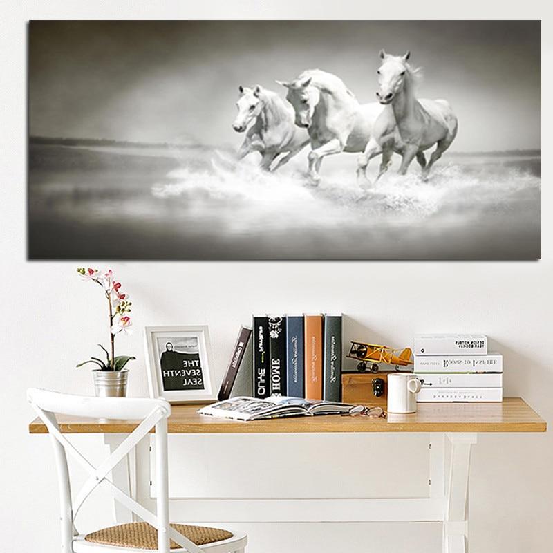 Nowoczesne białe konie biegną w obrazie olejnym rzeki HD Drukuj na - Wystrój domu - Zdjęcie 1