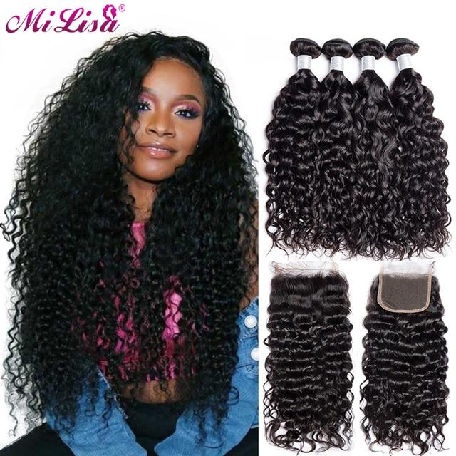 Water Wave 3 Bundles With Closure Brazilian Human Hair Weave Bundles with Lace Closure Free Part 4 Pieces/Lot Mi Lisa Remy Hair