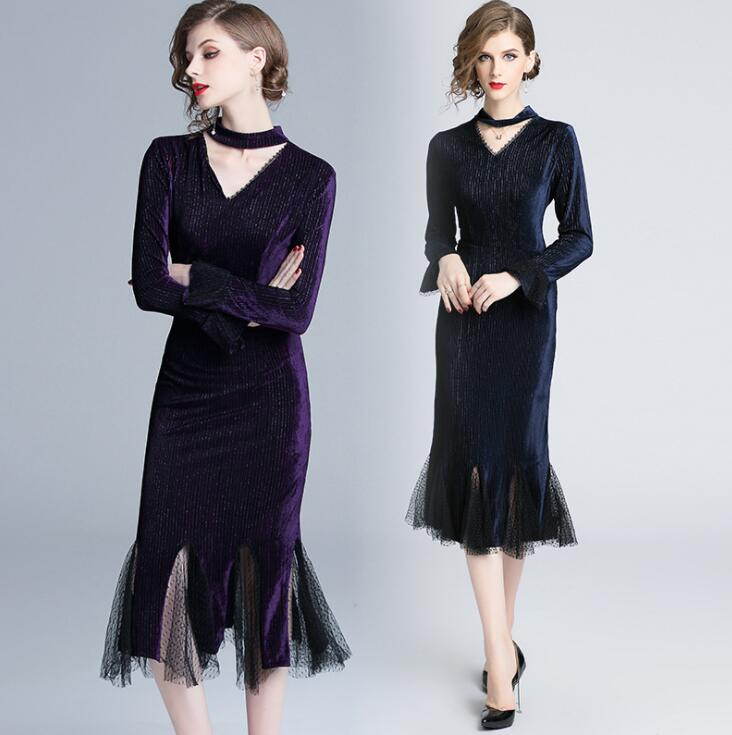 RUVOE New Spring Velvet Dresses Long Sleeve Sparkly Party Dress Sexy Women V neck Wrap Dress Elegant Pencil Dresses S XXL