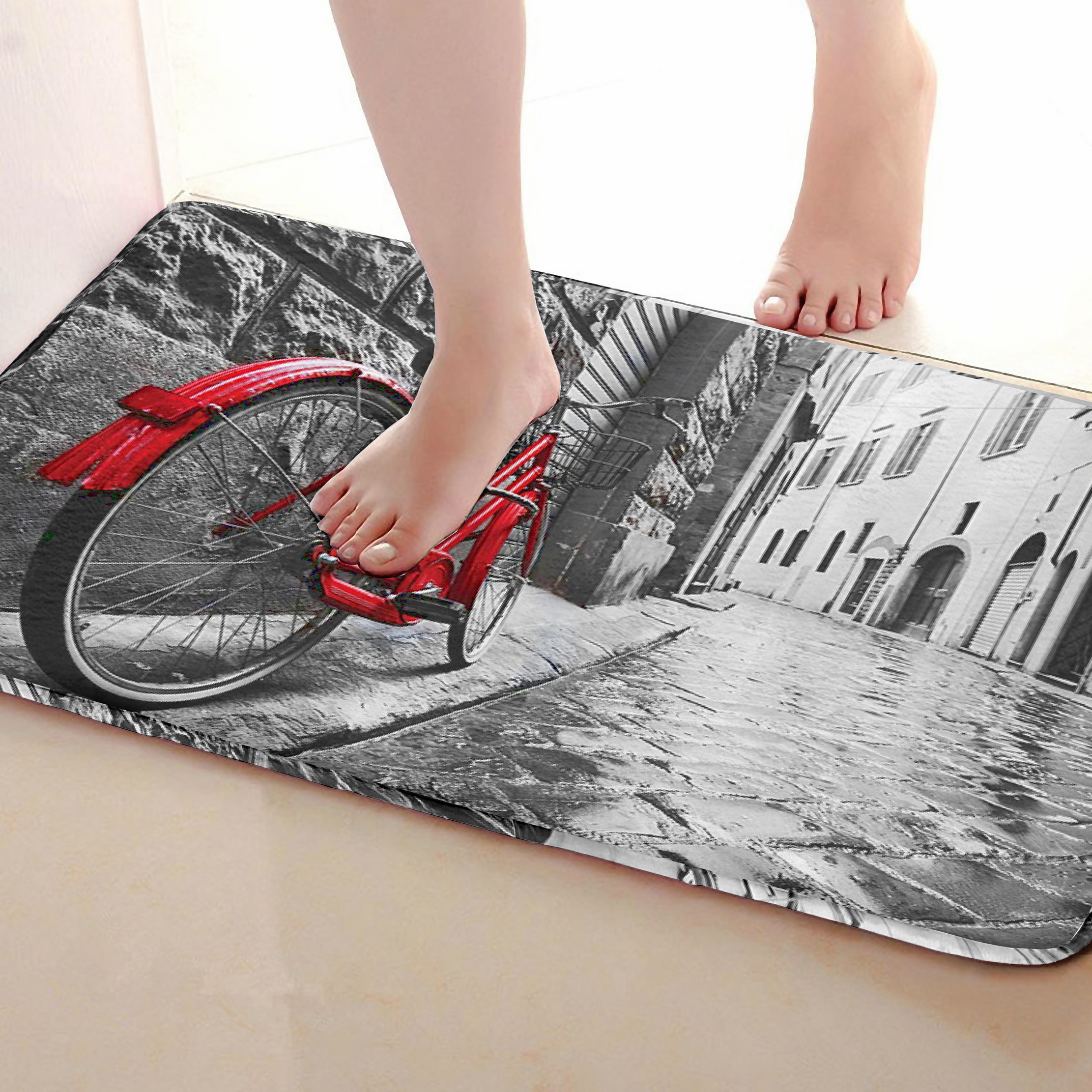 Bicycle Style Bathroom Mat,Funny Anti Skid Bath Mat,Shower Curtains Accessories,Matching Your Shower Curtain