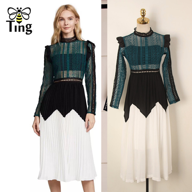 Tingfly Self Portrait New Season High Quality Hollow Out Lace Midi Dress  Color Contrast Elegant Party ac680ecb9bd0