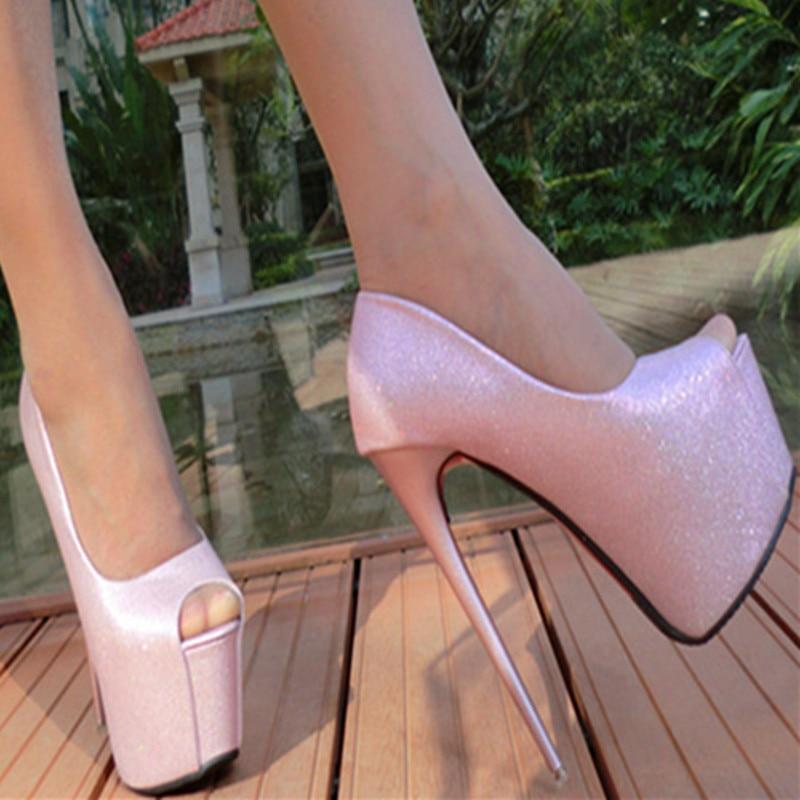 Women Autumn Sexy Black & Pink Rhinestone Peep Toe Platform 6.7 inches Thin High Heels Stiletto Pumps Shoes China F48