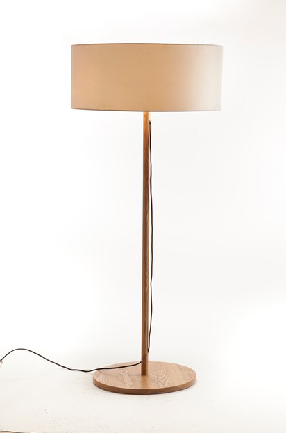 Ems Free Ship Floor Lamps Led Round Wooden Handmade Base Large Standing Lamp With Drum Shade