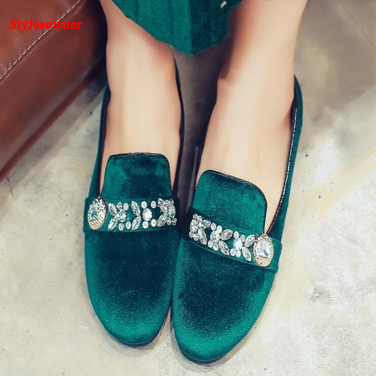 ФОТО Stylesowner 2017 New Fashion All-match Women Shoes Velvet Crystal Buckle Slip On Shoe Catwalk Maryja Solid Color Shoe size 43
