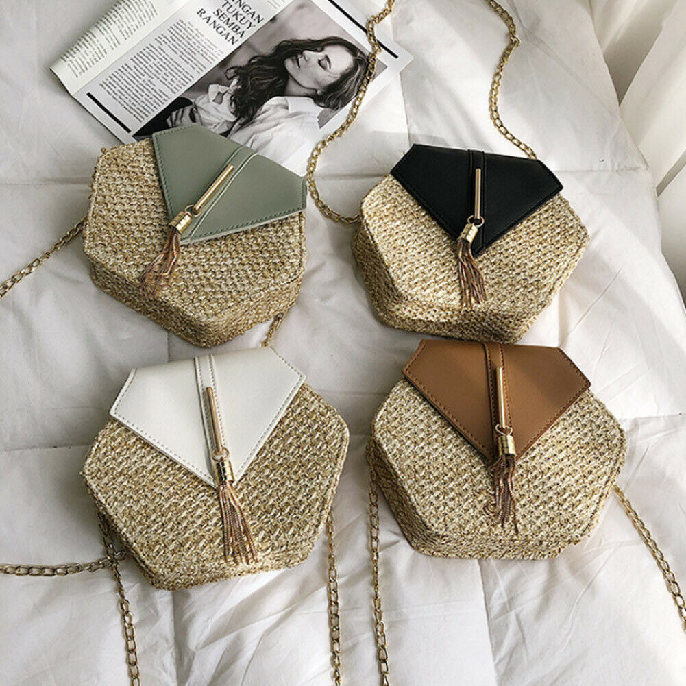 New rhombus straw bag bohemian hand-woven rattan beach bag fashion shoulder bagNew rhombus straw bag bohemian hand-woven rattan beach bag fashion shoulder bag