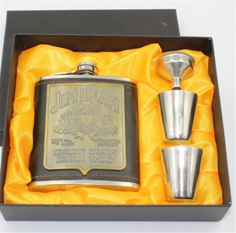 4pcs/set 7oz Stainless Steel Hip Flask Wine Pot Cup Funnel Suit Set Portable Whisky Alcohol Flagon Liquor Bottle A2032c