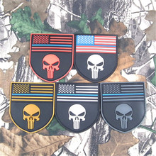 Thin Blue Line USA America Flag Sniper 3D PVC Punisher Skull devgru patch multicam flag shield Navy Seal Patches badge